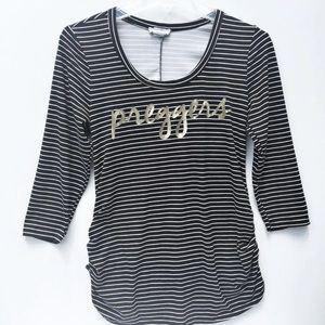 Ruby And Lace Black & White Striped Maternity Top